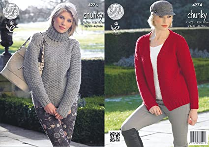 e5637d65526d72 Image Unavailable. Image not available for. Color  King Cole Ladies Chunky  Knitting Pattern ...
