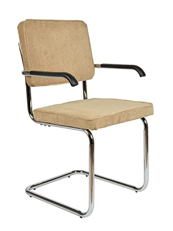 Ts Ideen 1x Design Esszimmer Stuhl Cordstuhl Beige Metallrahmen Armlehnen  Kunststoff Büro Küche