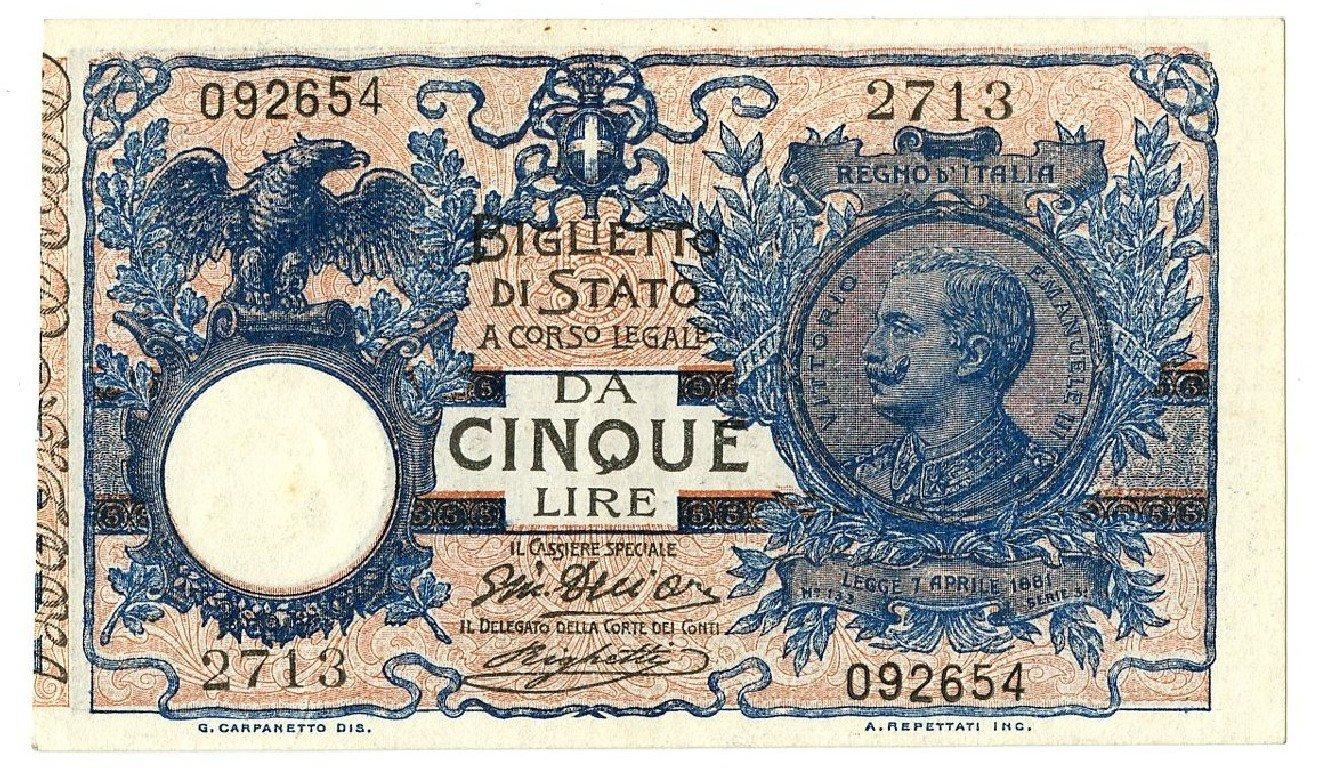 Cartamoneta  5 Lire Floreale Matrice EFFIGE Vittorio Emanuele III 05 11 1914 SPL+ SUP