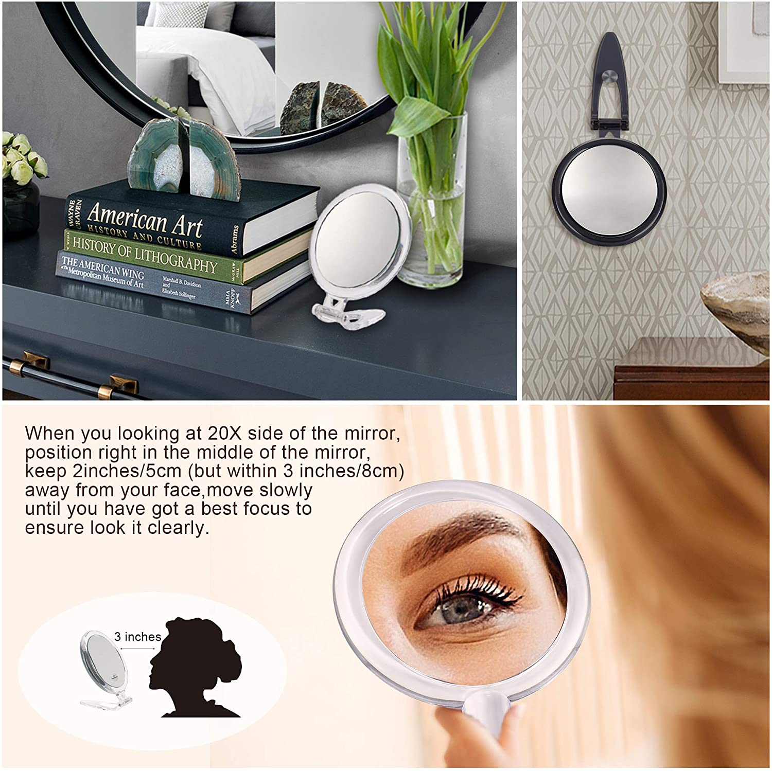 Purple Two Sided Mirror 20X//1X Magnification Folding Makeup Mirror with Handheld//Stand,Use for Makeup Application Tweezing 5Inch,20X Magnifying Mirror and Blackhead//Blemish Removal.