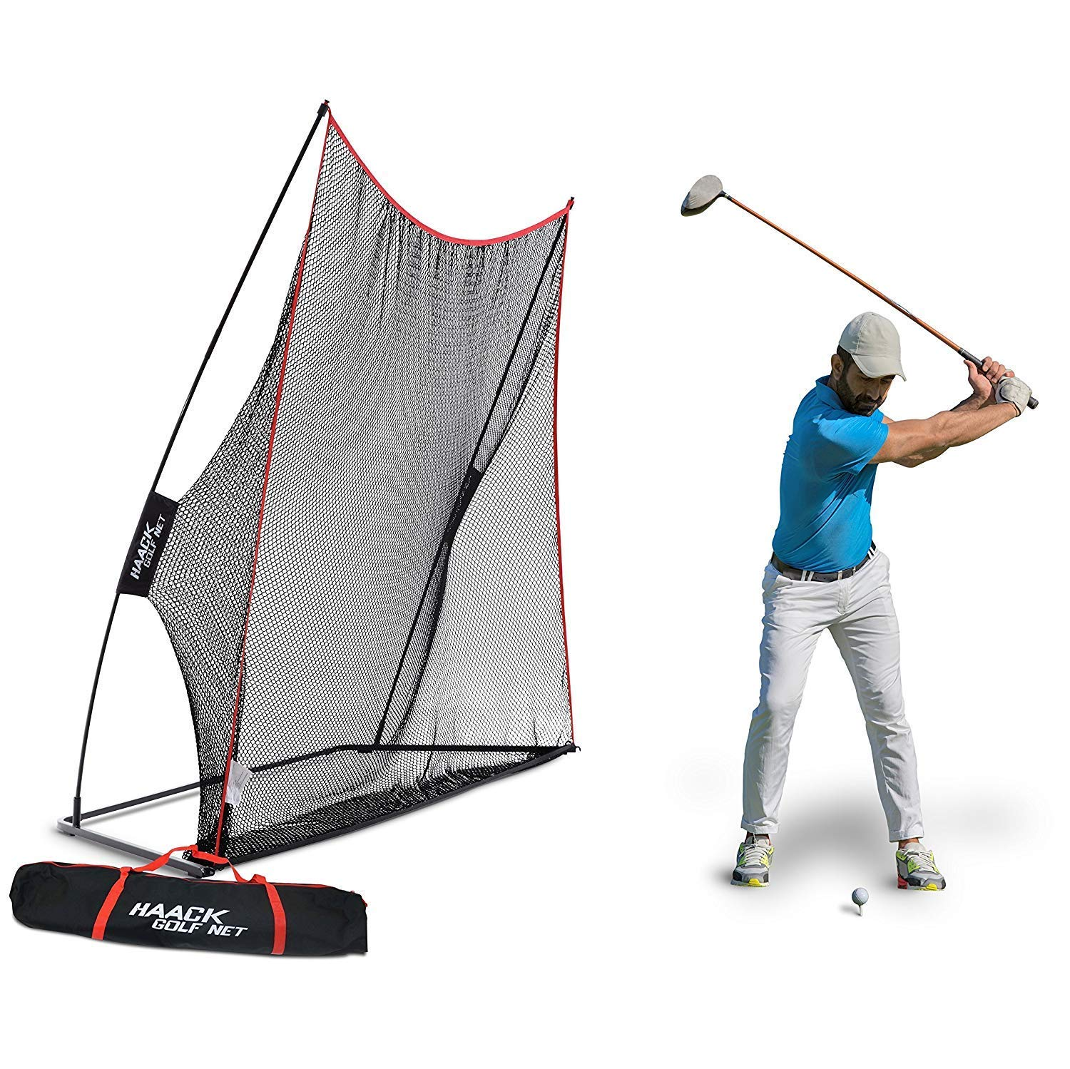 Rukket 10x7ft Haack Golf Net | Practice Driving Indoor and Outdoor | Golfing at Home Swing Training Aids | by SEC Coach Chris Haack by Rukket Sports
