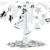 Relaxdays Lanceur de confettis canon cotillons 40 cm décoration portée 6-8 m fête nouvel an, étoile argentée