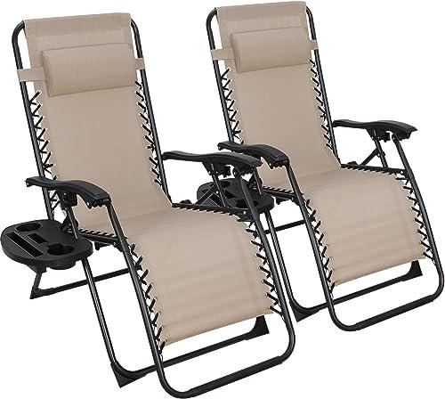 ZENY Zero Gravity Lounge Chairs Set of 2 Adjustable Folding Recliner
