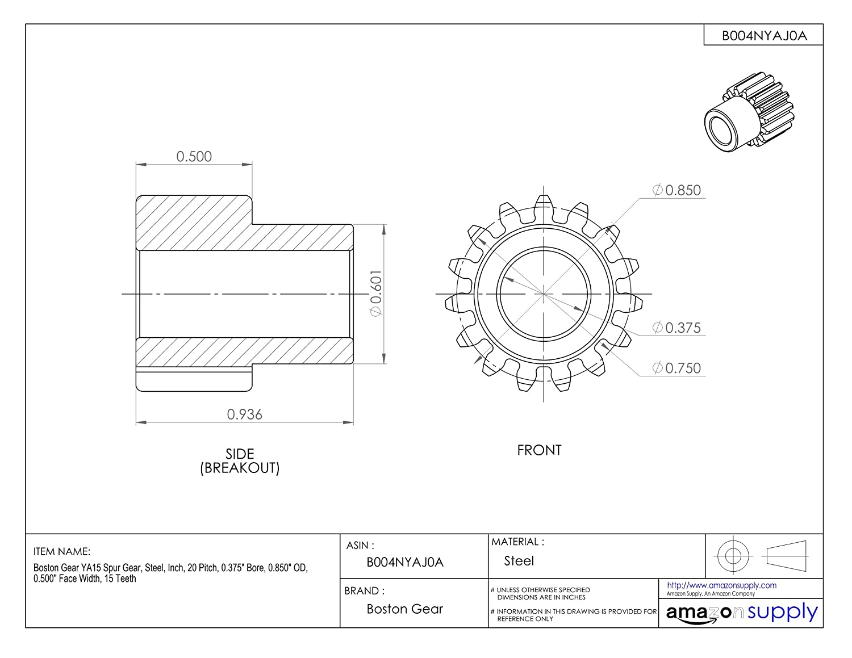 Inch 0.700 OD 12 Teeth 0.500 Face Width 20 Pitch Boston Gear YA125//16 Spur Gear 0.313 Bore Steel