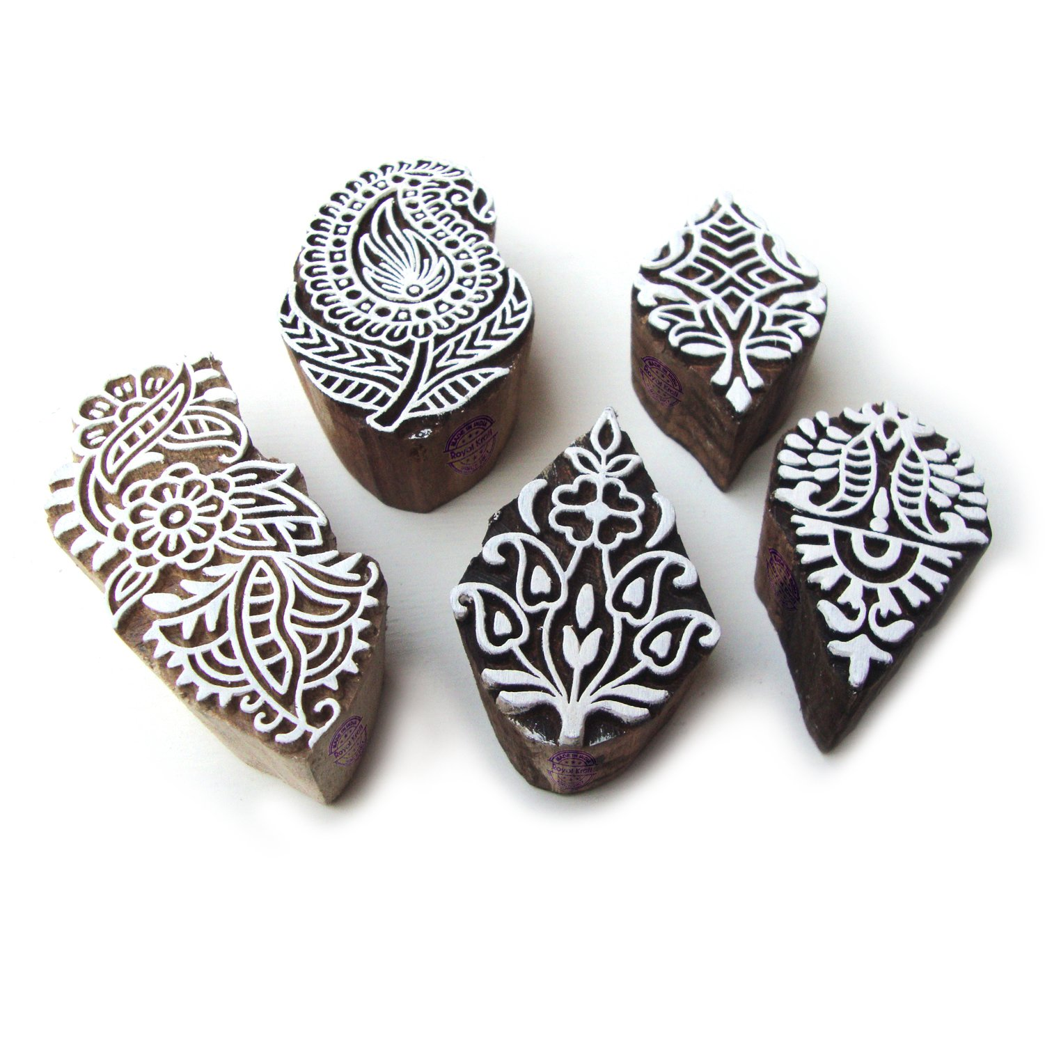 Hand Carved Paisley and Floral Designs Wooden Printing Stamps (Set of 5)