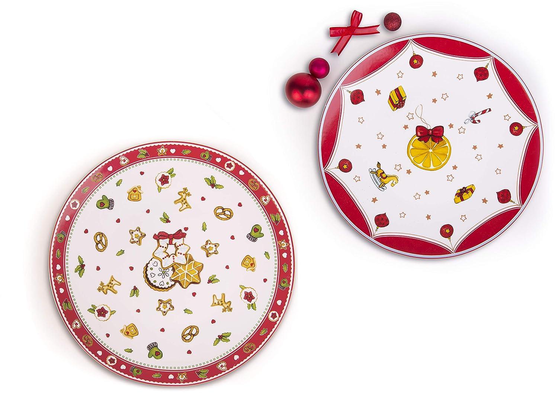 Excelsa Xmas Set 2 Piatti Panettone, Porcellana, Multicolore Bergamaschi & Vimercati Spa 61475 61475_decoronataliazioBianco/Rosso