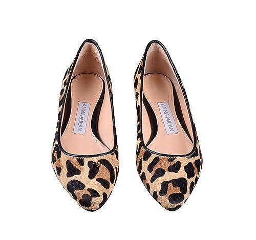 ANNA MILAN Ballerine Leopardi per Donna 100% Pelle di Puledro Suola in  Cuoio E Soletta 3822d059493