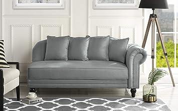Dark Grey Sofamania Large Classic Velvet Fabric Living Room Chaise Lounge with Nailhead Trim