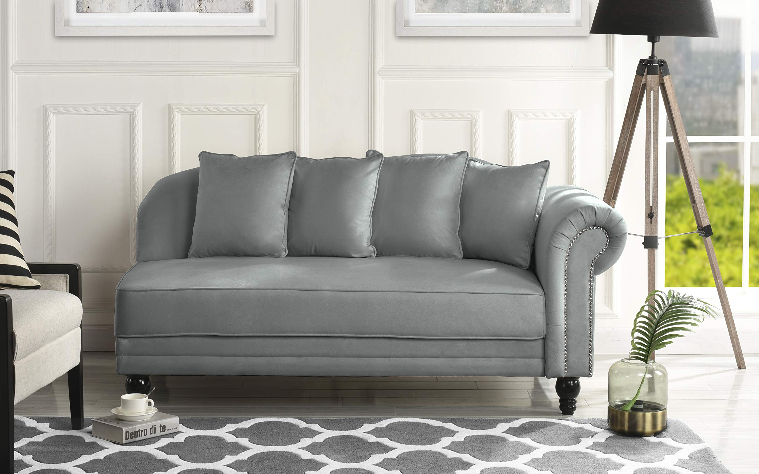 Sofamania Large Classic Velvet Fabric Living Room Chaise Lounge with Nailhead Trim (Dark Grey) by Sofamania