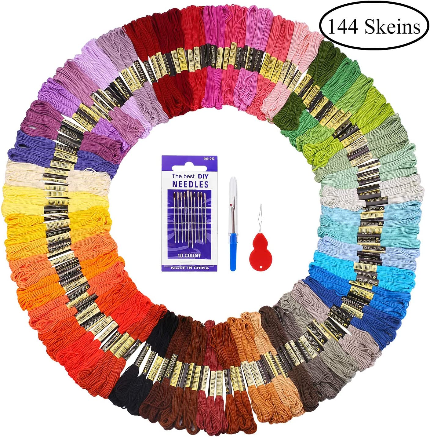 Madejas de Hilos 144 Madejas 48 Colores Fuyit Hilos de Bordar de Algodón Bordado Kit de Hilos Cross Stitch Bordado Hilos