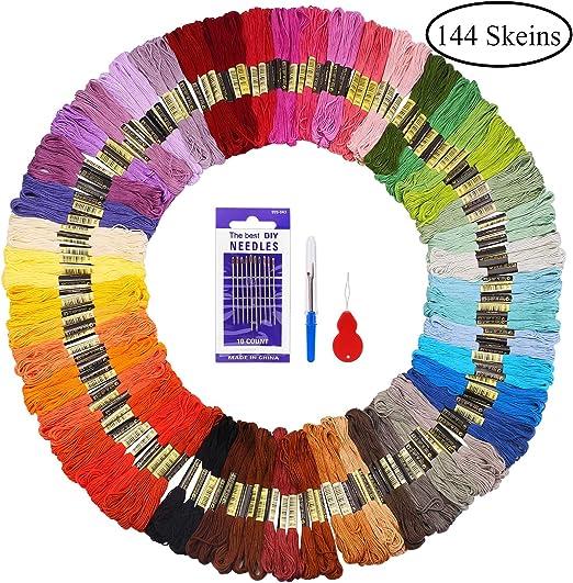 Fuyit Madejas de Hilos 144 Madejas 48 Colores Hilos de Bordar de ...