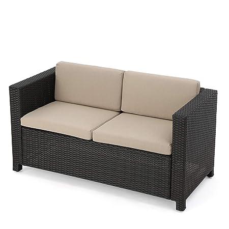 Great Deal Furniture Lorelei Outdoor Wicker Loveseat with Cushions, Dark Brown and Beige