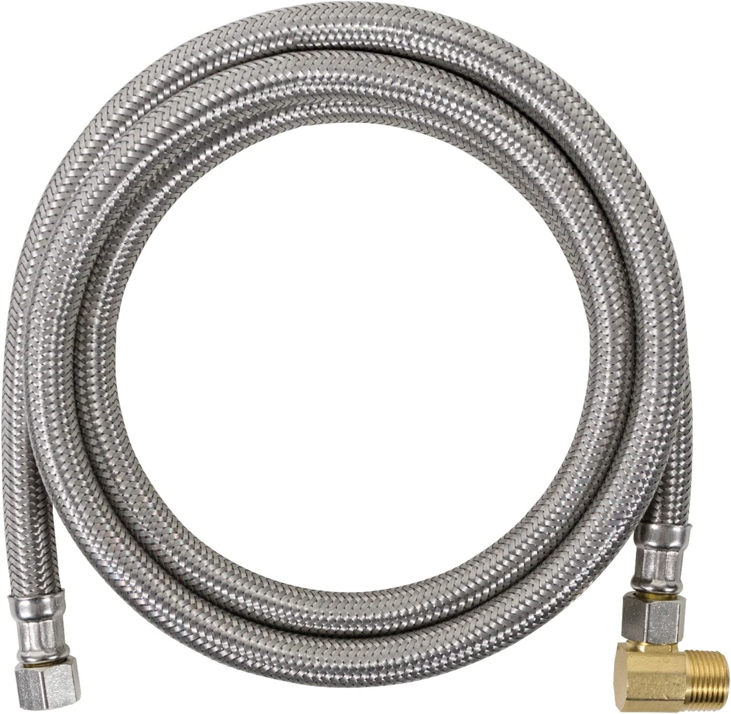 Certified Appliance Accessories Dishwasher Hose with 90 Degree MCM Elbow, Water Supply Line, 4 Feet, PVC Core with Premium Braided Stainless Steel