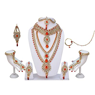 37b89bf89 Buy Lucky Jewellery Orange Color Kundan   Cz Stone Bridal Dulhan Set for  Girls   Women (3600-WZK-O-DUB) Online at Low Prices in India