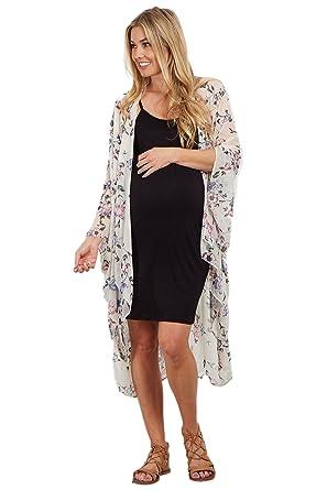 e16084317d PinkBlush Maternity Floral Chiffon Oversized Kimono at Amazon ...