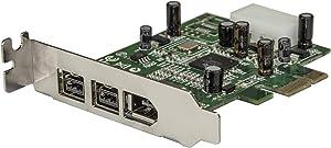 StarTech.com 3 Port 2b 1a Low Profile 1394 PCI Express FireWire Card Adapter - PCI Express 1394a - PCIe FireWire 400 Card (PEX1394B3LP)