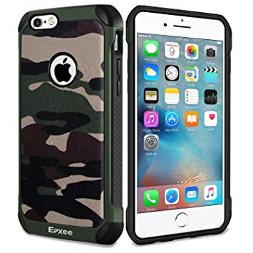Epxee Funda para Apple iPhone 6 Plus, Silicona Shock-Absorción Case Carcasa para Apple iPhone 6 Plus (Camuflado-001)