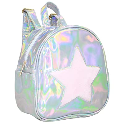 American Jewel - Silver Iridescent and Faux Fur Pink Star Backpack | Kids\' Backpacks [5Bkhe0802418]