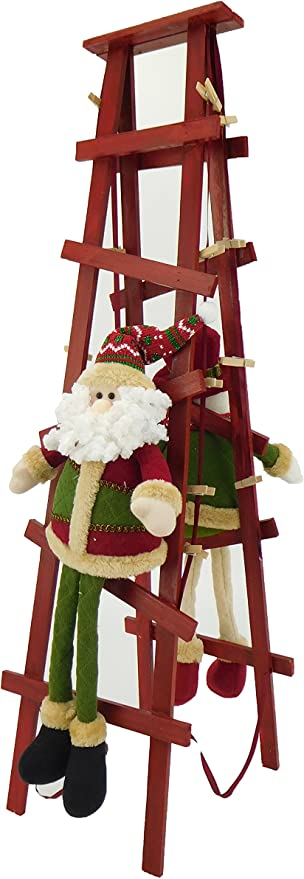 Christmas Concepts Sitting Santa /& Snowman Christmas Card Holder for A Mantle Piece with Wooden Pegs