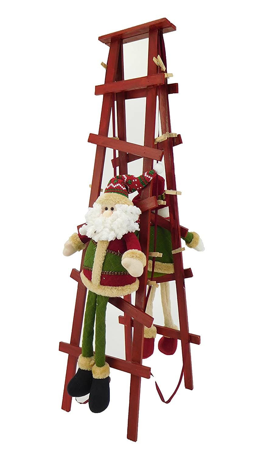 Christmas Concepts® 80cm Standing Christmas Card Holder Santa & Snowman Climbing Ladder With Wooden Pegs