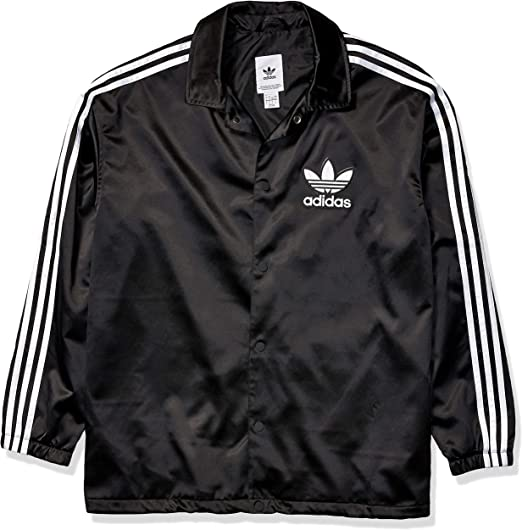 adidas Satin Coach Jacket BlackWhite