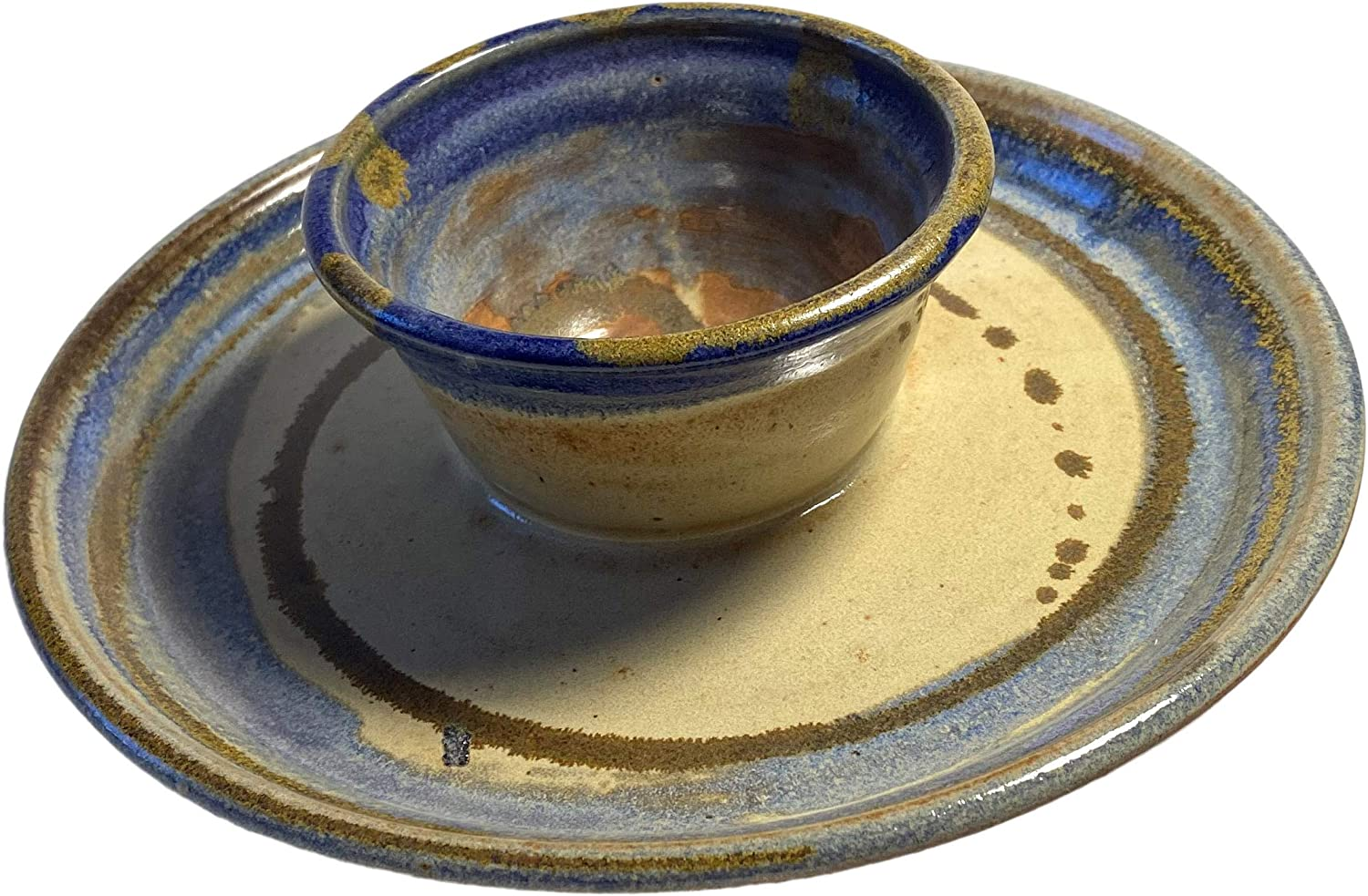 Hand Spun Hand Painted and Hand Glazed Suitable Home Decor Dip Tray American Made by Integrity1 Hand Crafted Stoneware Hand Made Artistic Ceramic Serving Plate Set for Chips