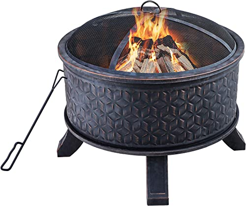 MFSTUDIO 26″ Round Outdoor Fire Pit,Wood Burning Steel BBQ Grill Firepit Bowl