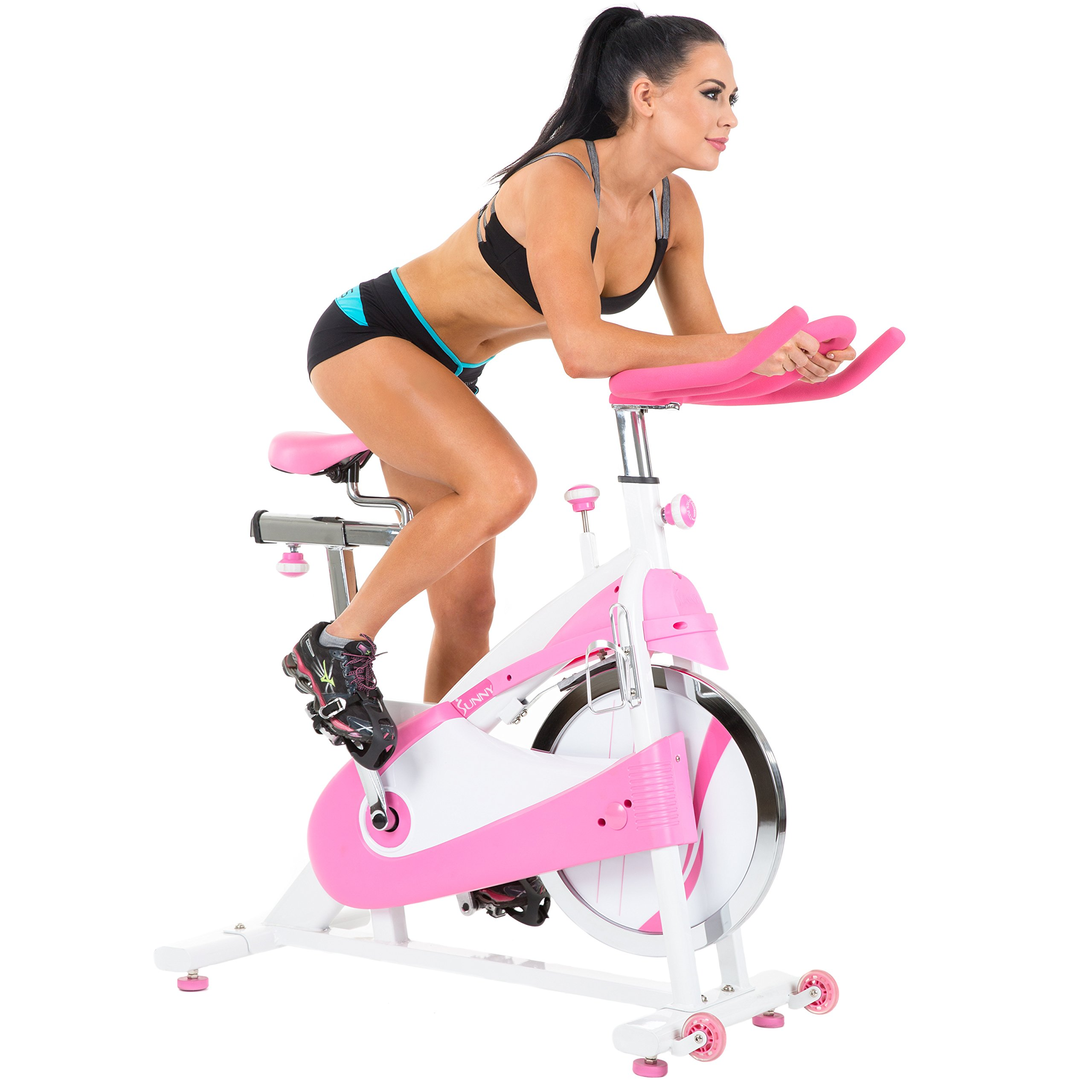Sunny Health & Fitness P8150 Belt Drive Premium Indoor Cycling Bike, Pink by Sunny Health & Fitness