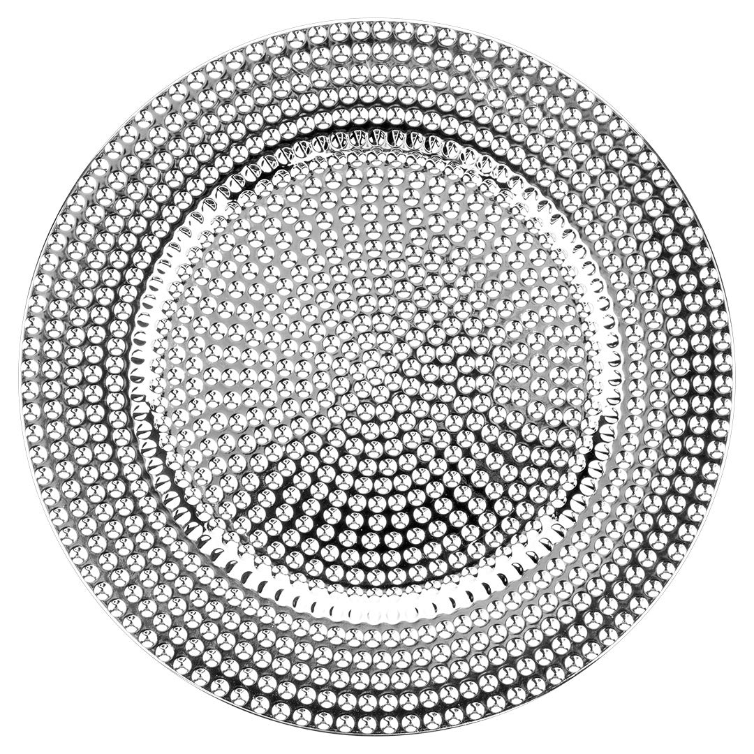 """Koyal Wholesale Round 13"""" Shiny Metallic Silver Charger Plates, Modern Hammered Look, Bulk Set of 4, Table Setting, Tabletop, Tablescape for Wedding, Holidays, Events, Dining Room Decorative Use"""