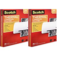 $38 » Scotch Thermal Laminating Pouches, 3 Mil Thick, Durable, Clean Finish, Professional Quality, 8.9 x 11.4 Inches, Letter Size Sheets, 400-Pack, Clear