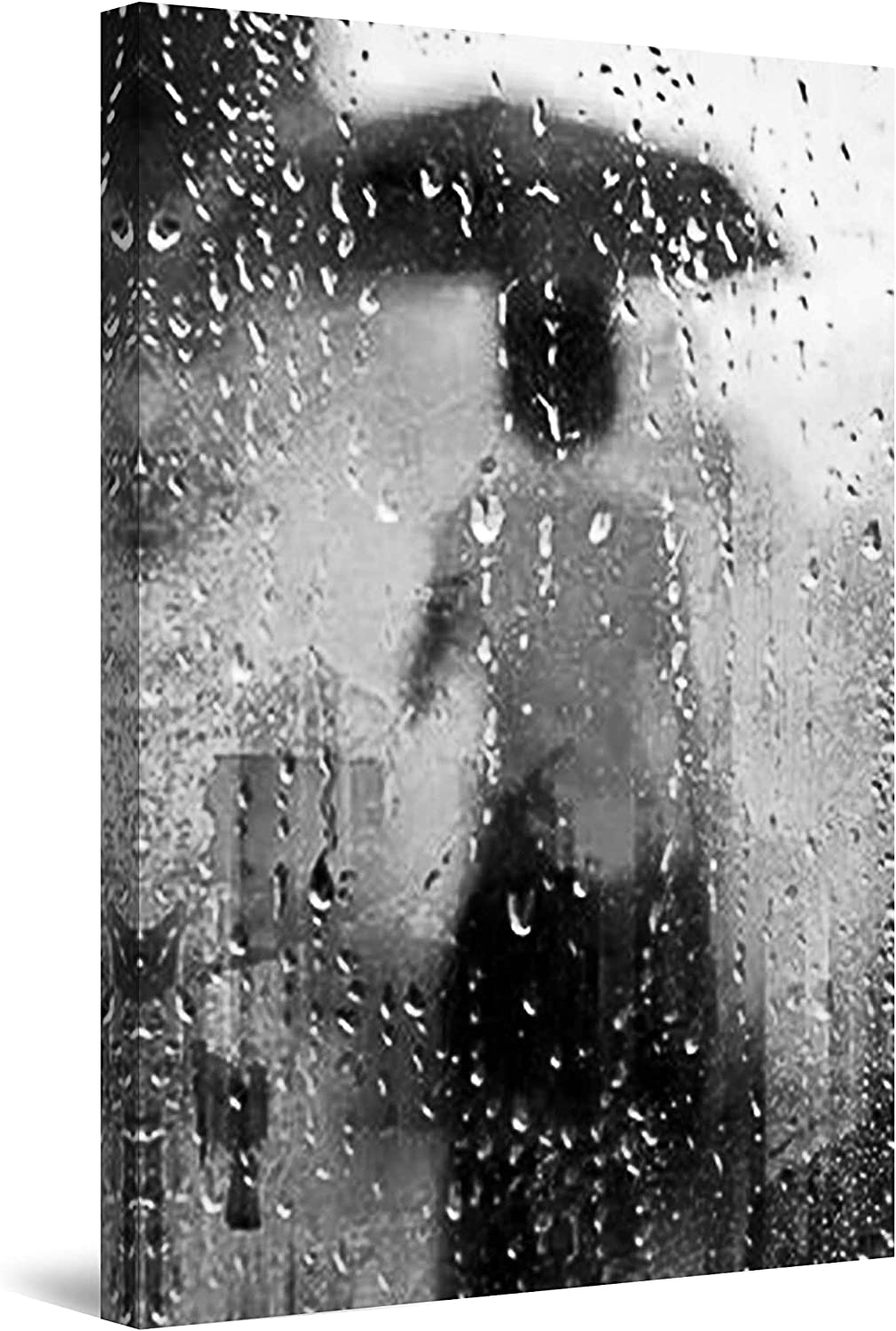 "Startonight Canvas Wall Art Black and White Abstract Lady and Umbrella on The Rain, Framed Quantic Home Decor for Bedroom 24"" x 36"""