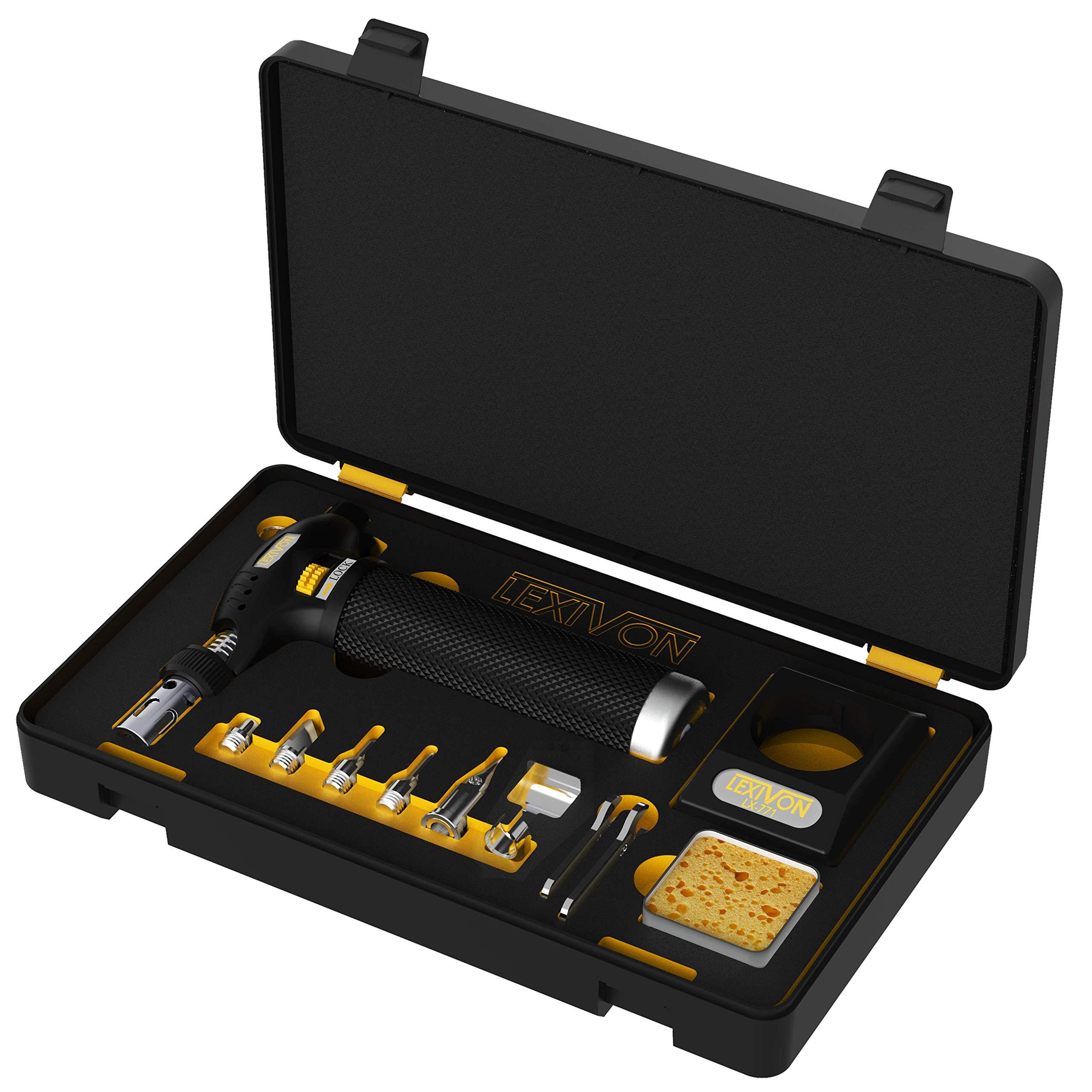 LEXIVON Butane Torch Multi-Function Kit   Premium Self-Igniting Soldering Station with Adjustable Flame   Pro Grade 125-Watt Equivalent (LX-771)
