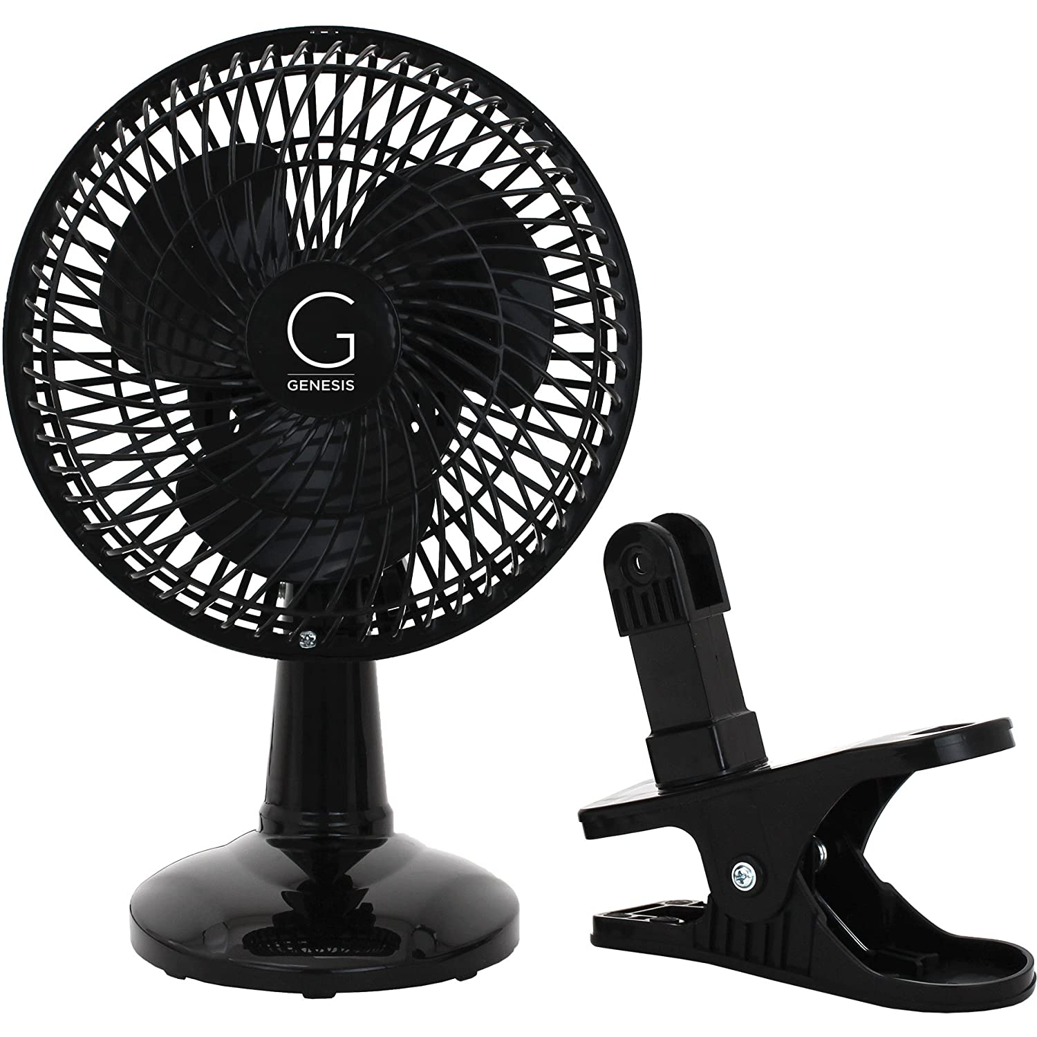 Genesis 6-Inch Clip-On Fan - Convertible Table-Top & Clip Fan, Fully Adjustable Head, Two Quiet Speeds - Ideal For The Home, Office, Dorm, & More - Black