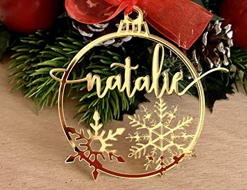 Christmas snowflakes with custom logo snowflakes ENGRAVED Christmas baubles logo ornament custom gift tags ENGRAVED name