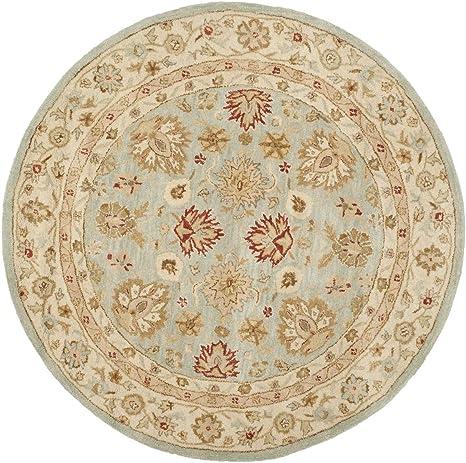 Amazon Com Safavieh Antiquity Collection At822a Handmade Traditional Oriental Premium Wool Area Rug 8 X 8 Round Grey Blue Beige Furniture Decor