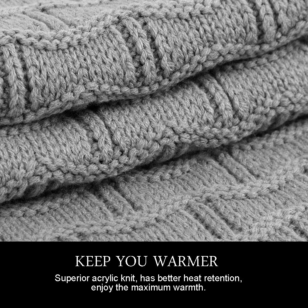 Vbiger Wintermütze Strickmütze Damen Mütze Beanie Warme Mütze Winterschal Damen
