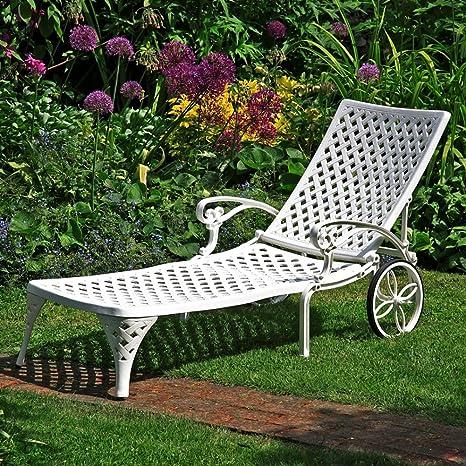 Lazy Susan Chaise Longue Amber Blanche Meuble de Jardin