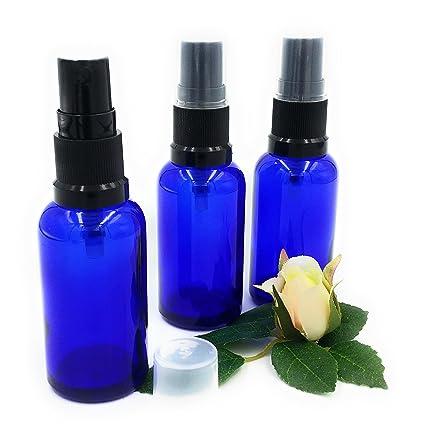 Pack de 3 x frasco de vidrio azul 30 ml con pulverizador/spray negro.