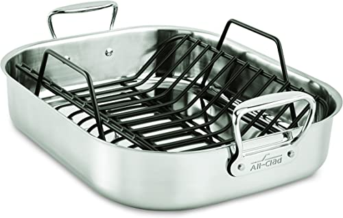 All-Clad-E752C264-Stainless-Steel-Dishwasher-Safe-Large-13-Inch-x-16-Inch-Roaster-with-Nonstick-Rack-Cookware
