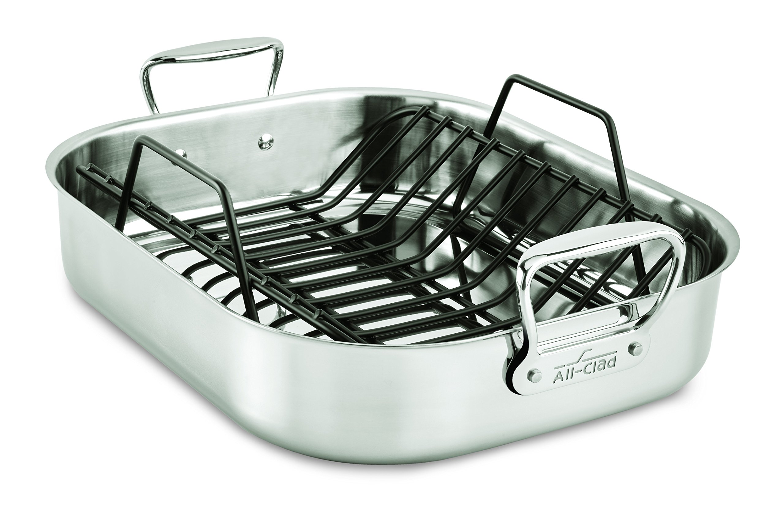 All-Clad E752C264 Stainless Steel Dishwasher Safe Large 13-Inch x 16-Inch Roaster with Nonstick Rack Cookware, 16-Inch, Silver by All-Clad