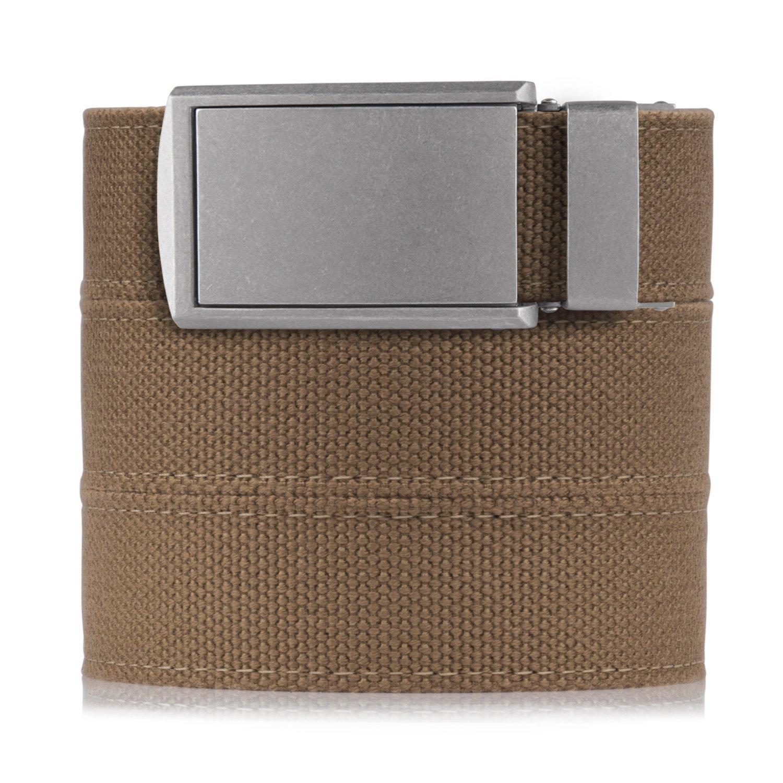 SlideBelts Men's Canvas Belt without Holes - Zinc Buckle/Burlap Canvas (Trim-to-fit: Up to 48'' Waist)