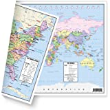 """US and World Desk Map (13"""" x 18"""" Laminated) for Students, Home or Classroom Use by American Geographics"""