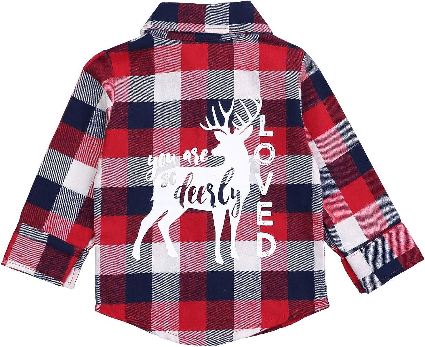 Kids Little Boys Girls Baby Long Sleeve Button Down Red Plaid Flannel Shirt Plaid Girl Boy 1-5T