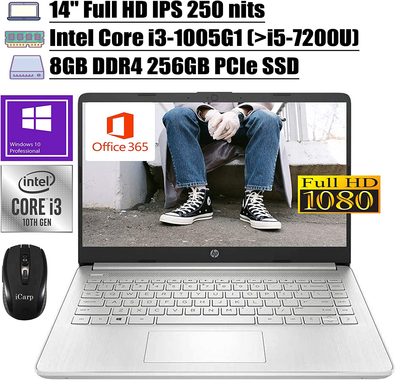 "2020 Latest Flagship HP 14 Laptop Computer 14"" Full HD IPS 250 nits 10th Gen Intel Core i3-1005G1 (Beats i5-7200U) 8GB DDR4 256GB PCIe SSD Backlit USB-C Office 365 Win 10 Pro + iCarp Wireless Mouse"