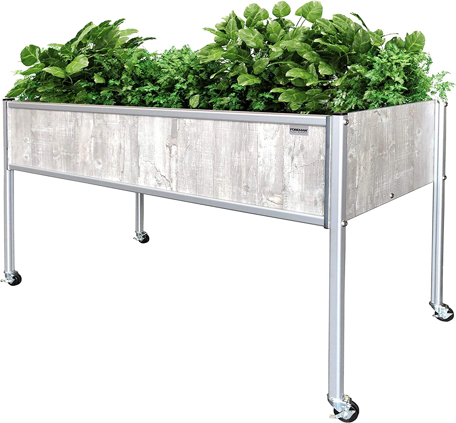 "Foreman Raised Garden Bed 48""Lx24""Wx32""H 10 Year Warranty Premium HPL Plastic Wood Grain Aluminum Legs with Lockable Wheels Elevated Planter Box for Backyard Patio Balcony, Monte"