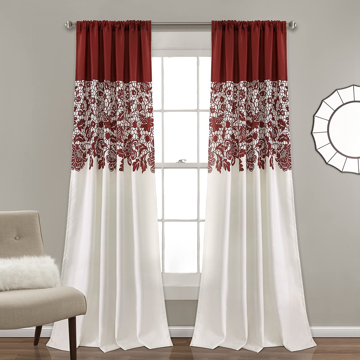 "Lush Decor Estate Garden Print Curtains Room Darkening Window Panel Set for Living, Dining, Bedroom (Pair), 84"" x 52"", Red"