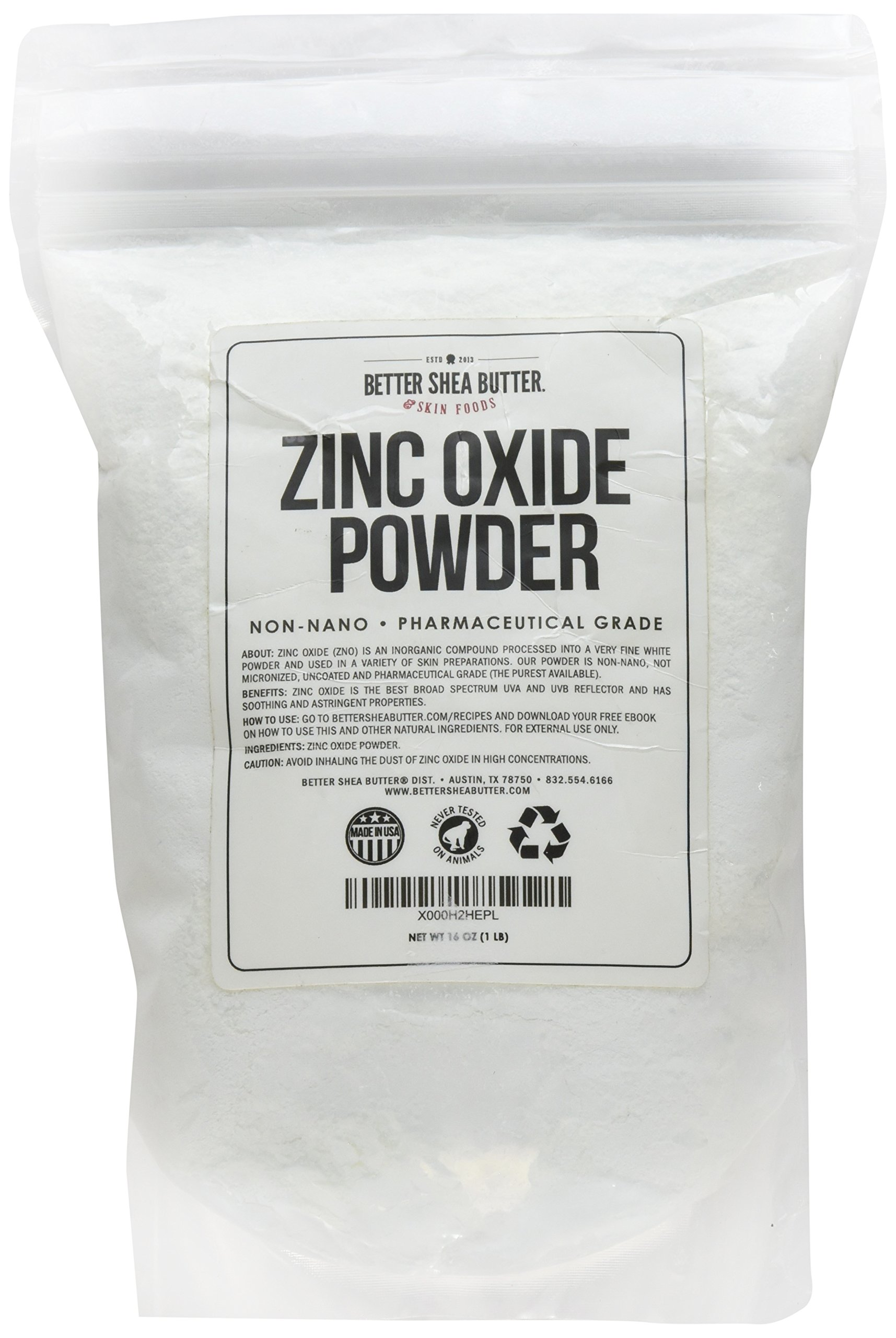 Zinc Oxide Powder - Non-Nano, Uncoated, Pharmaceutical Grade - Use to Make Your Own Acne and Rash Cream and Ointment, Sunscreen, Soap, Lip Balm and More - Sourced & Packaged in the USA - 1 lb (16 oz)