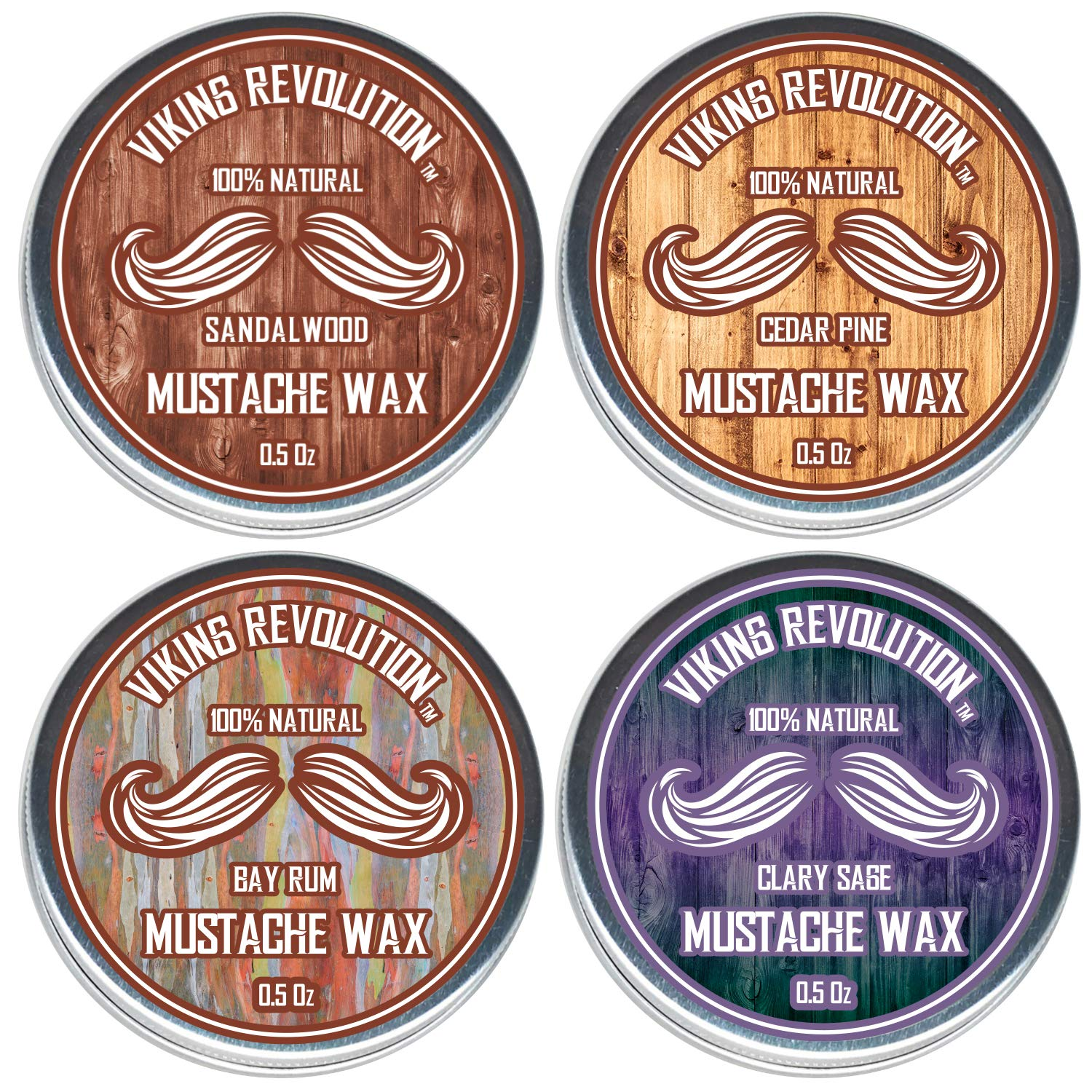 Mustache Wax 4 Variety Pack - Beard & Moustache Wax for Men - Strong Hold Helps Train Tame & Style- Sandalwood, Clary Sage, Cedar Pine, Bay Rum Styles