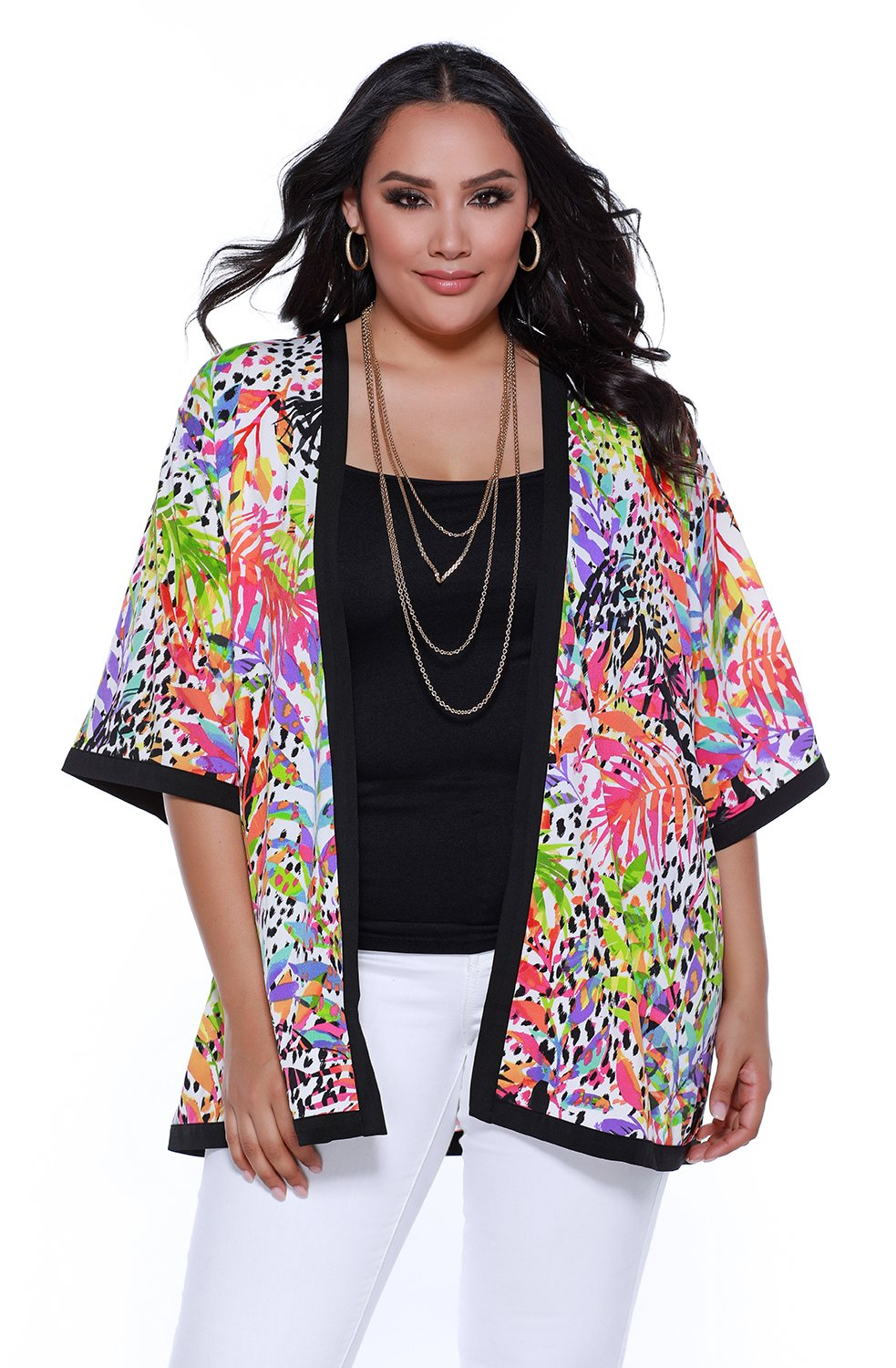 Women's plus size 3/4 sleeve open kimono with contrast detail - 1X - Poly Spandex Print Crepe Jersey
