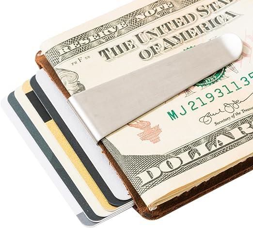 Leather Money Holder /& Organizer Thin Front Pocket Wallet Brown DBL08 DUEBEL Handmade Card Case Wallet